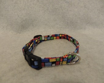 "Small Dog Collar 1/2"" Wide 8-12"" Geo Colors"