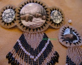 Native American Style OOAK Rosette style beaded Buffalo Barrette and Earring set in Mocha