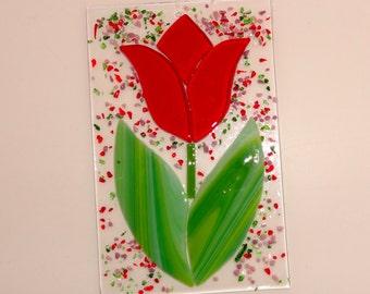 Fused Glass Tulip Suncatcher, Red Tulip, Fused Glass Flower Sun Catcher, Red Fused Glass Flower, Spring Sun Catcher, Garden Art