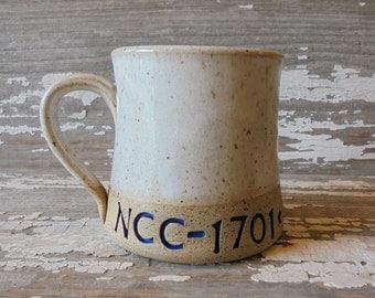 Trek Mug - NCC - 1701- D - Handmade Pottery Mug - Star Trek TNG - USS Enterprise - Communicator