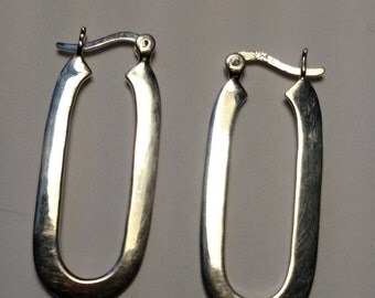 SALE TODAY Mod Runway Vintage Oblong Oval Long Sterling Silver Hoop Earrings Pierced Large 925 Boho