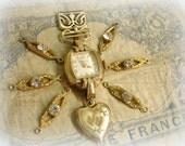 vintage and antique gold findings antique gold filled ribbon clasp deco gold and rhinestone links heart shaped locket mid century watch