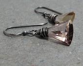 Ametrine Earrings Geometric Jewelry Oxidized Sterling Silver Earrings Wire Wrapped Earrings Triangle Earrings
