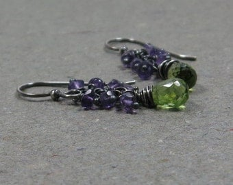 Peridot Earrings Amethyst Earrings August February Birthstone Earrings Cluster Earrings Oxidized Sterling Silver Earrings Gift for Wife