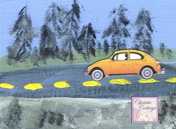 VW Bug, ACEO, Mixed Media Original Art, Orange Slug Bug, Volkswagen