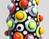 Random Mod Spot Bullet Barrel--Handmade Lampwork Glass Bead