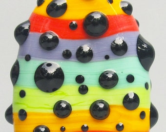 Rainbow Pop Dot Big Focal--Handmade Lampwork Glass Bead