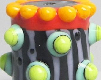 Zuma Bitty Barrel --Handmade Lampwork Beads