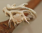 For SuzannefromanAntler Ring 2 set with rough diamond,rough diamond ring,alternative engagement ring, twig ring, twig diamond ring,
