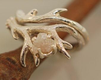 Antler Ring 2 set with rough diamond,rough diamond ring,alternative engagement ring, twig ring, twig diamond ring, antler ring