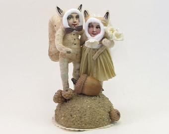 Vintage Style Spun Cotton Squirrel Wedding Topper Made to Order