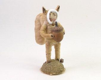 Spun Cotton Vintage Style Squirrel Child Figure