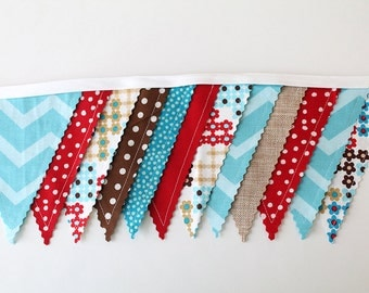 Red Aqua Brown Linen burlap, Shower Bunting party decoration. Fabric Banner. Photo prop 12 Pennant Birthday flags dessert table. tan Chevron