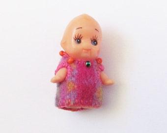 Felt Brooch - Kelly Kewpie - Vintage Dolly In A Pink Wool Dress - Pin - Accessory