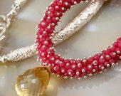 Ruby Necklace - Holidays - Gift For Her - Statement - Cluster - Luxury