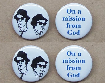 "Blues Brothers & On A Mission From God 4 button set 1.25"" repro Jake Elwood Landis Belushi Aykroyd"