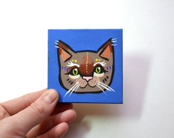 Mr. Snuggles - Tiny Original Acrylic Painting of a Smart Kitty