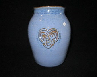 large vase or utensil holder with celtic heart in blue, stoneware pottery