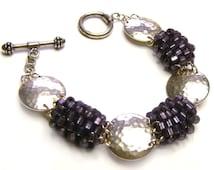 Beaded Pillows and Hammered Sterling SIlver Discs Bracelet Handmade bead woven by Artist Svetlana Kunina