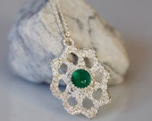 VALENTINE SALE Emerald City, Lace jewelry, Sterling and green onyx necklace, Bridal jewelry, antique lace