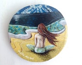 Beach decor, she looked past a sea of her own thoughts, one of a kind Mounted Print, on round wood slice