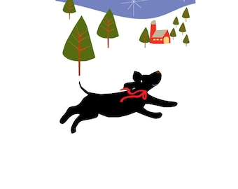 greeting card black lab heading home