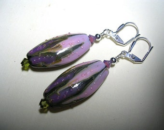 Purple Earrings Exquisite Lampwork Swarovski Crystals Leverback Hooks Wire Wrapped Sea Life