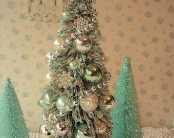 AQUA Bottle Brush Tree -  Mercury Glass, Rhinestones and Tulle