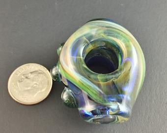 Glass Dread Bead Stash Mini Pipe Handmade Green Purple Carmel  - Dan Rushin