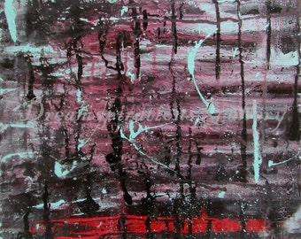 Melancholy - ORIGINAL - Abstract - 11x14 - Acrylic Painting - Canvas board - red - black - purple - teal - blues - window