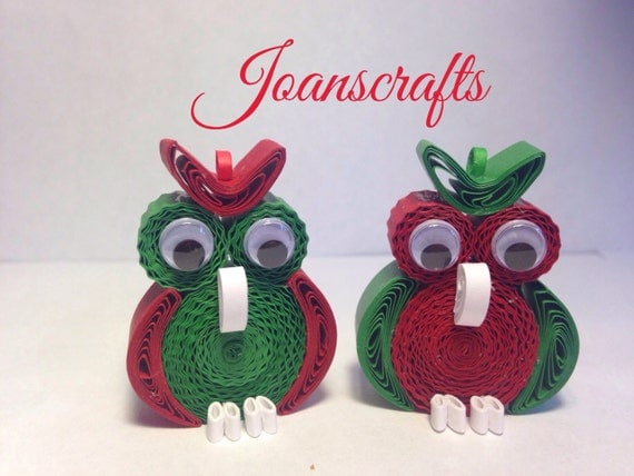 Quilling, Two Christmas Owl Ornaments, Magnets