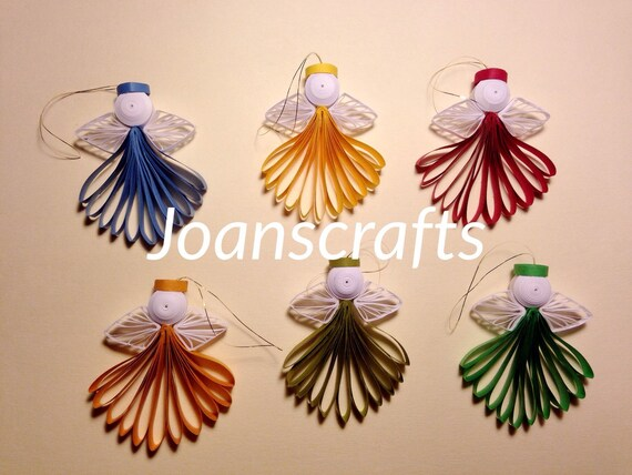 Set of six Quilled Mini Angels Ornaments