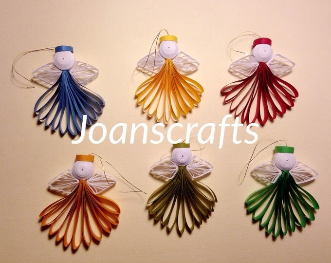 Set of six Quilled Mini Angels Ornaments