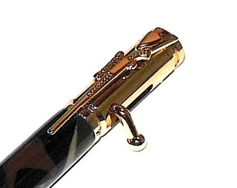 Rifle Pen 30 Caliber Bolt Action 24kt Gold Bullet Cartridge Pen with Woodland Camo Acrylic RF12 Handmade