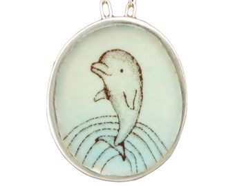 Dolphin Necklace - Sterling Silver and Vitreous Enamel Dolphin Pendant