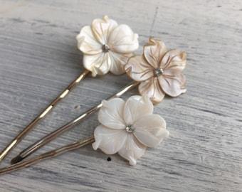 Beach Wedding No.9 - Medium Carved Natural Mother of Pearl Flower Hair Pin with Swarovski Rhinestone Center