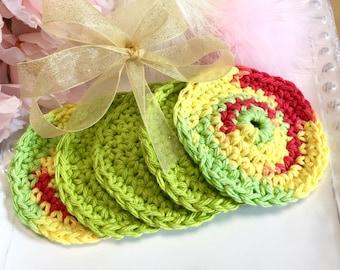 Crochet Cotton Facial Scrubbies, set of 10 Facial Cloths, Facial Scrubbies, Cotton Face Scrubbies, Make up removers, Reusable, Eco Friendly,