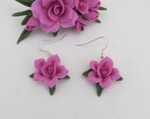 Handmade Cold Porcelain Floral Pin and Earring Set