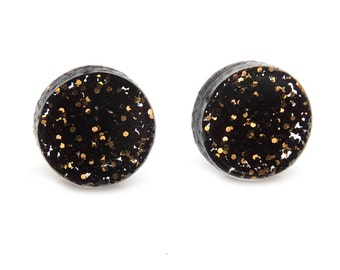 Black and Gold Glitter Laser Cut Acrylic Round Post Earrings