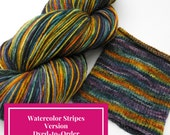 Flower Shop Inferno Watercolor Stripes, Self Striping Hand Dyed Targhee Sock Yarn - Dyed to Order