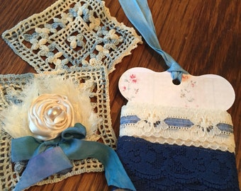 Blue inspiration kit with vintage trims , doilie and lace