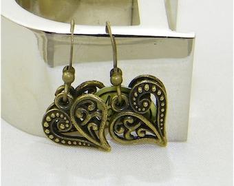 Bronze filigree heart charm dangle earrings, Love, Valentine, February 14th, Sweetheart, Bride, Wedding, Gift for her, Whimiscal  jewelry