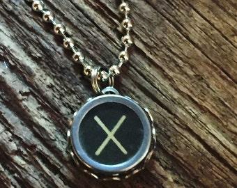 Letter X Typewriter Key Necklace