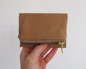 Camel Forester card wallet, small tan canvas pocket size wallet, ready to ship