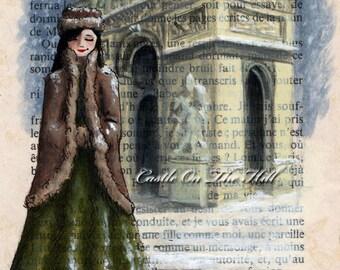 Paris, 1950s - Arc de Triomphe in the Snow print