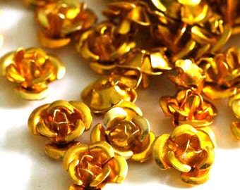 Clearance 67pcs 6mm Yellow (Gold) Aluminum Rose Flower Beads AF6MM008Y