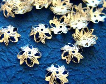 Sale 100pcs 10mm Silver tone Bead CAPS 0808S