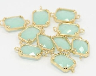 Top Quality 2pcs PaleTurquoise Glass Polished Real Gold Plated Brass Links GLAA