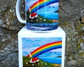 Porcelain Mug with Boat and Rainbow Printed Image