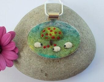 Sheep Pendant Necklace Handmade Felt Jewelry AppleTree